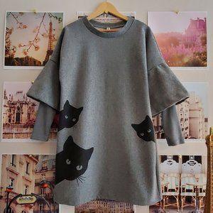 Order Plus Fleecy Structured Cat Dress
